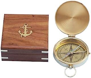 "Hampton Nautical Solid Brass Gentlemen's Compass with Rosewood Box, 4"", Brass"