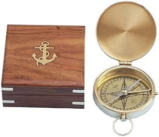 Hampton Nautical  Solid Brass Gentlemen's Compass with Rosewood Box, 4