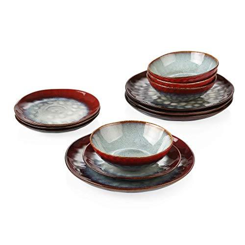 XXSHN Juego de vajilla Juego de vajilla de gres de 12 Piezas de cerámica roja de Aspecto Vintage con Plato de Cena, Plato de Postre, Cuenco