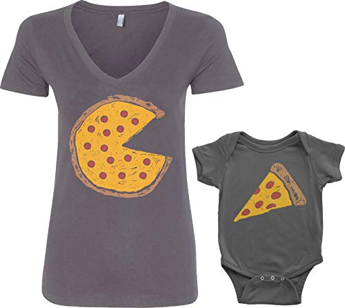 Threadrock Pizza Pie & Slice Infant Bodysuit & Women's V-Neck T-Shirt Set (Baby: 12M, Charcoal|V-Neck: M, Charcoal)