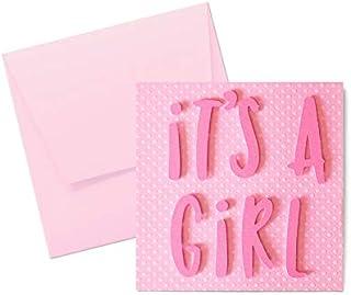 It's a girl - carta a pois - motivi a rilievo - biglietto d'auguri (formato 12 x 12 cm) - vuoto all'interno, ideale per il...