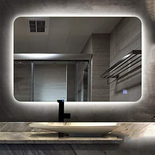 Hfyo Badkamerspiegel, LED, frameloos, met verlichting, wandspiegel, met touch-schakelaar, anti-beslaat, wandspiegel