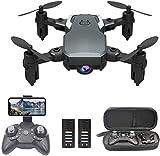 OBEST Mini Dron con Cámara 1080P HD, RC Quadcopter Plegable por App o 2.4GHz Control Remot, Giro de 360 °, Sigue la Trayectoria de Vuelo, 2 Baterías, Regalos de Juguetes para Niños, Negro