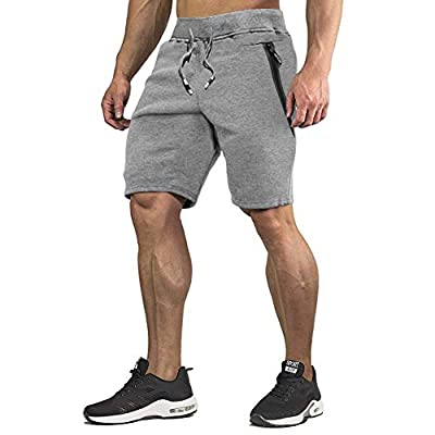 CRYSULLY Men's Casual Cotton Jogger Short Pant Active Gym Shorts for Workout,Training,Jogging Grey