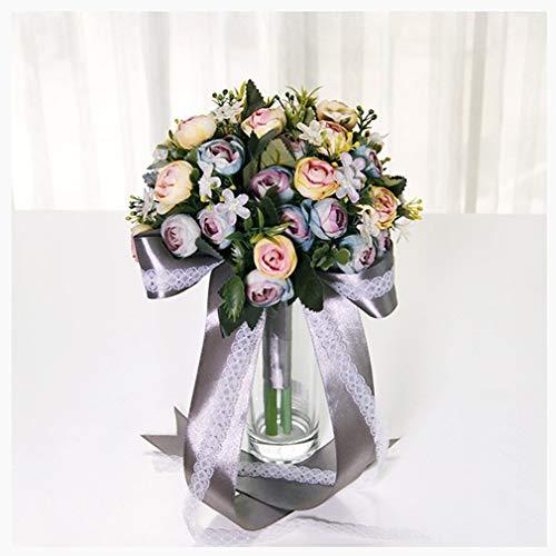 Lucidting Simulación De Boda Novia Sosteniendo Flores Vestido De Novia Gris Retro