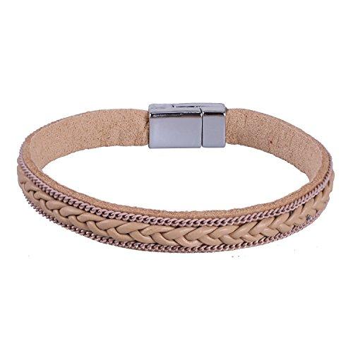 KELITCH 2 Kreis Ethno Magnetismus Knopf Braun Leder Armband mit Blatt Quaste Anhänger