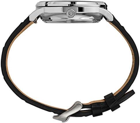 """Timex Waterbury רצועת עור אוטומטית 40 מ""""מ מפלדת אל-חלד עם רצועה מעצמה, 20 שעון יומיומי"""