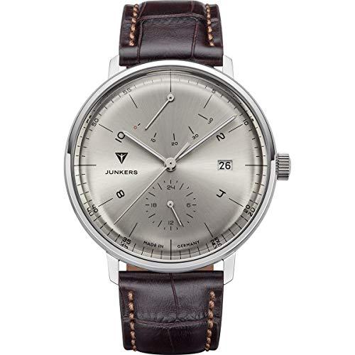 Junkers Bauhaus - Reloj de pulsera analógico automático para hombre (41 mm, reserva de marcha), plateado y marrón, 41 mm, Junkers Bauhaus