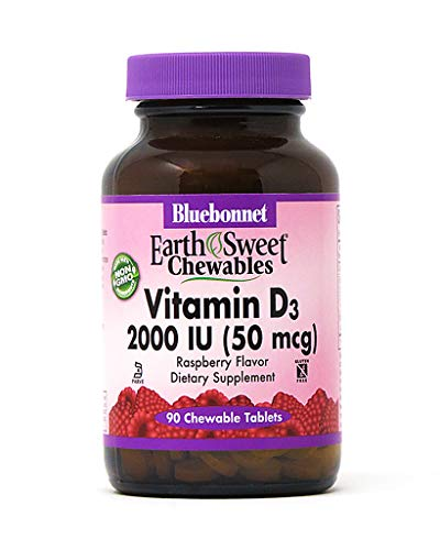 Bluebonnet Nutrition Earth Sweet Vitamin D3 2000 IU Chewable Tablets, Aids in Muscle and Skeletal Growth, D3, Non GMO, Gluten, Free, Soy Free, Milk Free, Kosher, 90 Chewable Tablets, Raspberry Flavor
