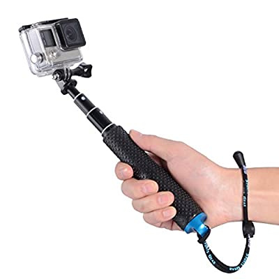 "Trehapuva Selfie Stick, 19"" Waterproof Hand Grip Adjustable Extension Monopod Pole Compatible With GoPro Hero(2018) Hero 7 6 5 4 3+3 2 1 Session, AKASO, Xiaomi Yi,SJCAM SJ4000 SJ5000 SJ6000 More(Blue) by Trehapuva"