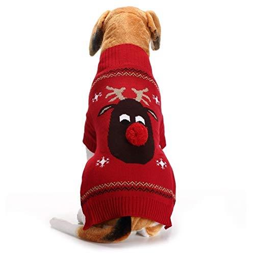 HAPPKING Weihnachten Haustier Kleidung rote Nase Rehkitz Haustier Pullover Teddy kleine mittlere und große Hund Pullover (Farbe : Rot, Größe : S)