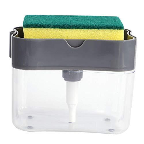 Ymiko Dispensador de Bomba de jabón Porta Esponja portátil con Esponja Dispensador de jabón de encimera 2 en 1 Lavavajillas Tazón Accesorio de Cocina