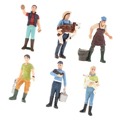 CUTICATE 6pcs / Set Puppenhaus Puppen Mini Bauernhof Arbeiter Bauer Spielfiguren Dekofiguren Modell