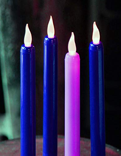 Flameless Advent Candle Set 4-Piece LED Advent Taper Candles Blue and Pink - Soft White Flickering Flame