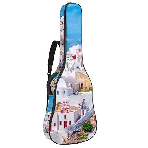 TIZORAX - Funda para guitarra acústica hippie vintage con impresión personalizada para coche, tamaño completo, con asa acolchada, correa para el hombro