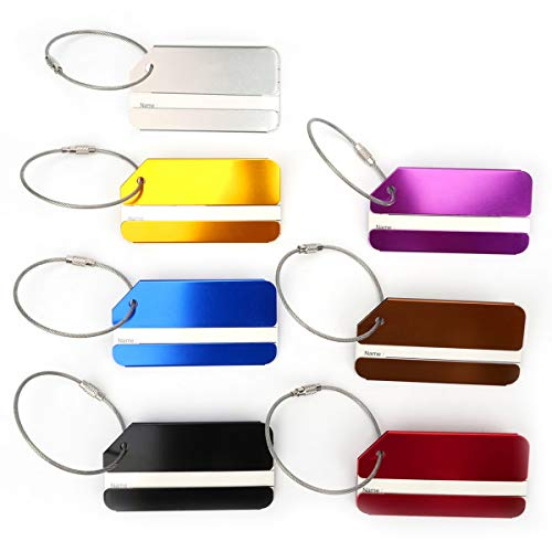 7PCS Travel Luggage Tag Aluminium Stainless Steel Suitcase Baggage Bag Office Name Address ID Label