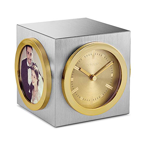 Citizen CC1019 Workplace Desk Clock, Silver and Gold-Tone