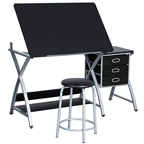 Yaheetech Adjustable Height Drawing Table, Artist Drafting Table with Tiltable Tabletop, Art Craft...