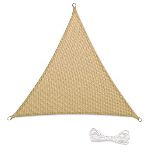Tenda a Vela Parasole Ombrelloni da Giardino Impermeabile Protezione Antivento con UV Protezione per Terrazza, Campeggio, Cortile, con Corda Libera 3x3x3m Triangolare Sand