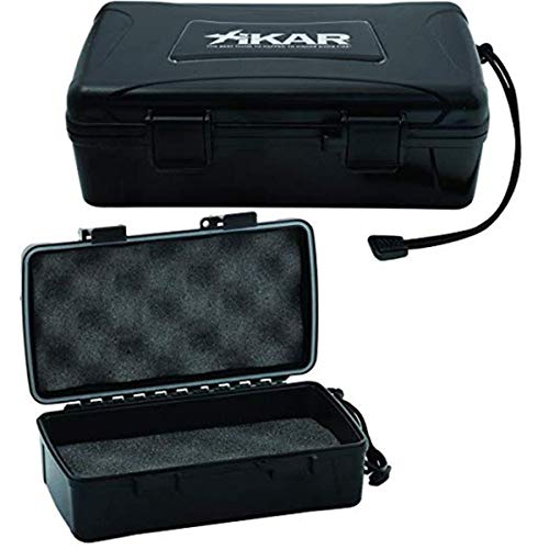 Xikar Cigar Travel Carrying Case, Holds 10 Cigars, Includes 1 Humidifier, Watertight, Crushproof, Model 210Xi, Black