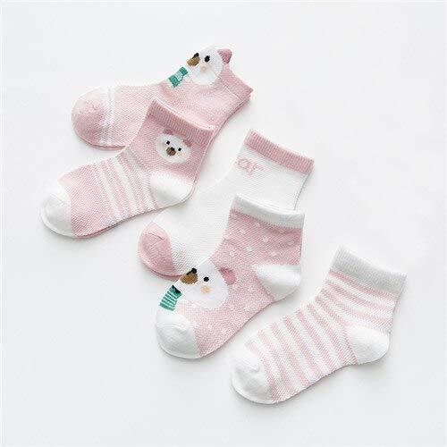 5 par/Lote 0-2 años Calcetines de bebé Verano Malla algodón Dibujos Animados Animales niños Calcetines niñas Lindo recién Nacido niño niño Calcetines Accesorios para bebé-Pink Bear