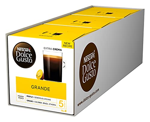 NESCAFÉ Dolce Gusto Grande Kaffee | 48 Kaffeekapseln | 100{cd19b43de8db9a9010690250653fd7bf35e85b85058b6878e97b0ac927651eb8} Arabica Bohnen | Feine Crema und kräftiges Aroma | Schnelle Zubereitung | Aromaversiegelte Kapseln | 3er Pack (3 x 16 Kapseln)