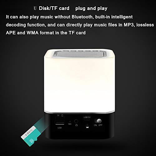 Bluetooth-Lautsprecher, tragbar, kabellos, mit Touch-Steuerung, Nachttischlampe, Wecker, MP3-Player, Freisprecheinrichtung, Tischlampe, Farbe wechselt das Nachtlicht für das Schlafzimmer