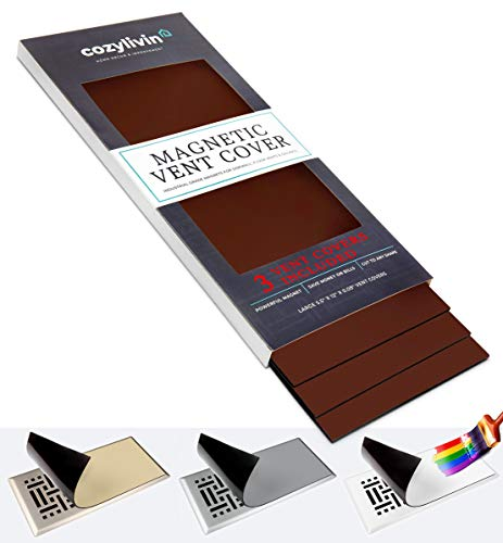 """Cozy Livin -Brown Magnetic Vent Covers - Super-Strong Magnet - 5.5"""" x 12"""" (3 Pack) - Fits Standard Air Vents-Registers-Floor Vents-AC Vents-HVAC Vents-Furnace Vents- Use on Floors, Walls, Ceilings, RV"""
