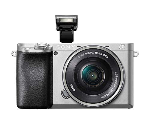 Sony Alpha 6100 E-Mount Systemkamera (24 Megapixel, 4K Video, 180° Touch-Display, 0.02 Sek. Echtzeit-Autofokus mit 425 Kontrast AF-Punkten, OLED Sucher, inkl. SEL-P1650 Objektiv) silber