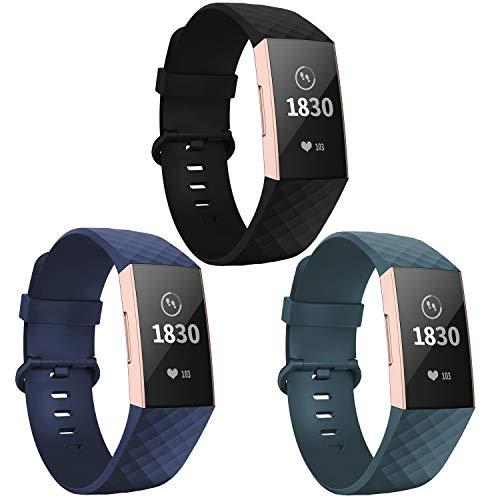 Adepoy für Fitbit Charge 3 Armband, Verstellbarer klassischer Sport Ersatzarmband Kompatibel mit Fitbit Charge 3/ Charge 3 SE, Damen Herren (3er Pack,Schwarz/Marine/Cyan, Klein)