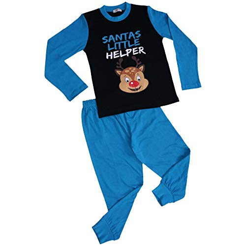 A2Z 4 Kids Unisex Pyjamas Santas Little Helper Reindeer - PJS Rudolph Blue_2-3