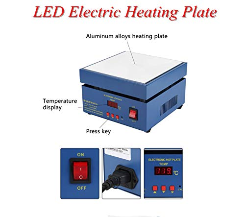 Placa calefactora de plataforma de calentamiento LED de 800 W con temperatura constante, calentadores de estación de precalentamiento eléctricos, placa calefactora con 2 modos de temperatura(EU)