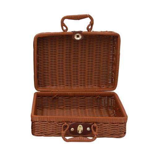 XKMY Cesta de almacenamiento vintage portátil hecha a mano de ratán tejido caso de almacenamiento de maquillaje, viaje, picnic, equipaje cesta, maleta, caja organizadora (color: café oscuro S)