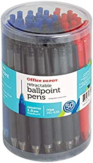 Office Depot Retractable Ballpoint Pens with Grips, Medium Point, 1.0 mm, Black/Blue/Red Barrels, Black/Blue/Red Inks, Pack of 50