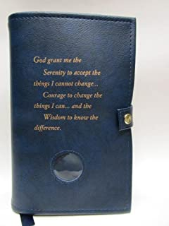 Double Narcotics Anonymous NA Basic Text & It Works, How & Why Book Cover Serenity Prayer Medallion Holder Blue