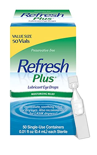 Refresh Plus Lubricant Eye Drops, Preservative-Free, 0.01 Fl Oz Single-Use Containers, 50 Count