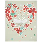 LIXWU 5d Diamond Art Valentines Day Card Two Swans Flowers,Diamond Painting Kits, Diamond Paint by Numbers, Diamond Painting Pictures Arts Craft for Home Wall Decor
