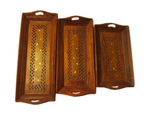 Set of 3 Wood Serving Tray With Handles - Decorative Serving Coffee Tray Platters for Parties | Restaurants | Ottomans | Christmas
