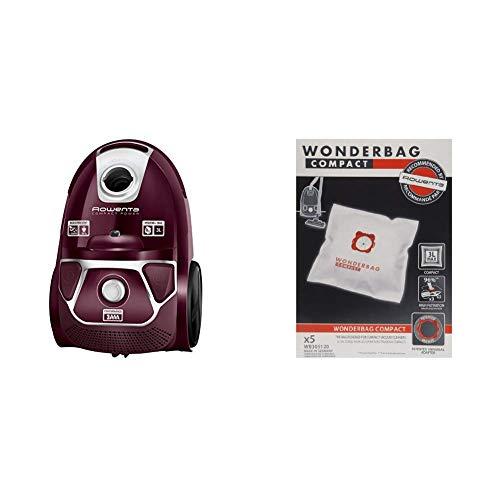 Rowenta Compact Power Morado RO3969EA - Aspirador trineo con bolsa de alta filtración y filtro permanente gran eficiencia + Wonderbag Compact WB305120 - Pack de 5 bolsas para aspiradora