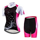 JPOJPO Women's Cycling Jersey Set Bike Shirt Tops Shorts Suit - Comfortable,Breathable and Quick Dry, Spray, XXL for Chest35.4-37.8',Max Waist38.6'
