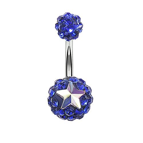 YJZO Anillo para ombligo, 1 pieza redonda de bola de cerámica suave con diamantes de imitación, anillo de ombligo (azul marino)