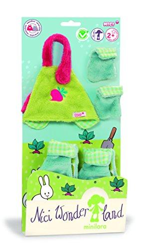 Nici 35505 - Wonderland 3 Minilara Set Schürze, Stiefel und Handschuhe für Puppe 30 cm
