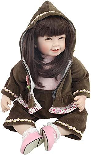 DFGBXCAW Muñeca Reborn de Silicona Completa, simulación de Moda, Bonita Peluca de Seda de Alta Temperatura, Pelo Largo, pequeña Princesa, muñeca para niños, Juguete de Regalo