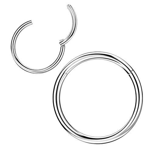 18 Gauge Hoop Nose Rings for Women Men Silver Nose Ring Hoop Surgical Steel Nose Hoop Hypoallergenic Body Piercing Rings for Septum Cartilage Helix Conch Rook Tragus Lobe Lip 18g Hoops 7mm Nose Hoop