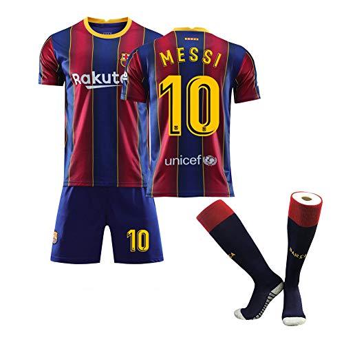 WQXD Messi Fußball Uniform Für Kinder Männer, Barcelona 17 Griezmann 2021 Heim und Auswärts Fußball Trikot mitFußballsocken Jungen T-Shirt Club Team Trainingsanzug Geburtstagsgeschenk-01-22
