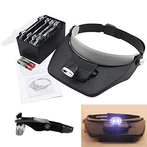 Hengda Lupenbrille mit Licht Kopfband Lupen Hände Frei Lupe mit LED Brillenlupe vergrößerungsbrille Uhrmacherlupe für Brillenträger Hobby Denest Elektriker Uhrmacher (1.0X bis 3.5X)