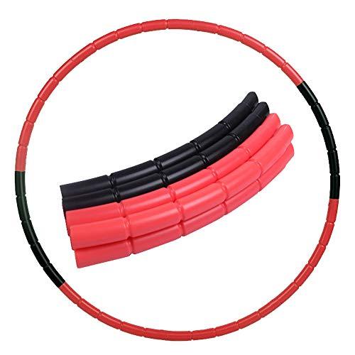 8 Teile Kinder Hoola Hoop Reifen farbig Durchmesser 70 cm hochwertig, 240g Reifen, Abnehmbar Hoola Hoop, Tragbar Reifen, zerlegbar, klein, für Training, Sport & Spiel (rot + schwarz)