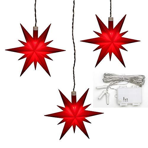 Dekohelden24 3er Set Weihnachtssterne aus Kunststoff in rot, inkl. LED Beleuchtung und 6h Timer, für Batteriebetrieb, für Innen und Außen geeignet. Maße je Stern L/B/H: 13,5 x 5,5 x 12 cm.