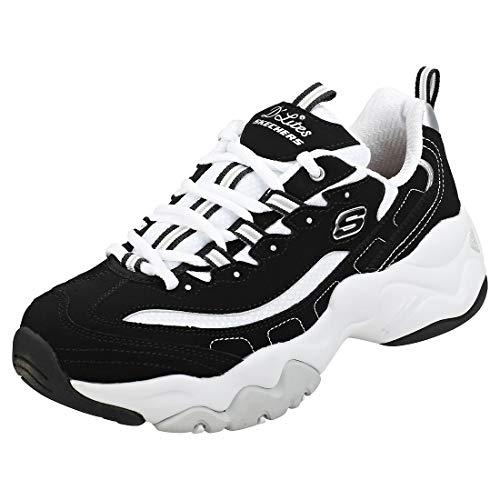 Skechers Womens DLites 3.0-Stride Ahead Low-Top Sneakers, Black (Black Leather/White Mesh/Silver Trim BKW), 4 UK 37 EU