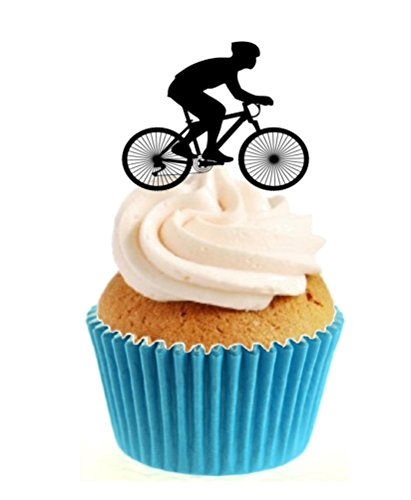 Sprinkles & Toppers Ltd Cycling Silhouette Edible Stand Up Wafer Paper Cake Toppers (12 Pack)